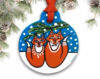 Handmade Fox Ornament Christmas Decor, Christmas Gift for Couples, Christmas Tree Ornament, Winter Ornament with Gift Box