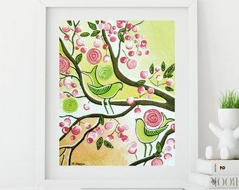 Love Bird Art Print Spring Decor Gift for Couples, Lime Green Pink Wall Art, Cherry Blossom Tree Print Wall Decor
