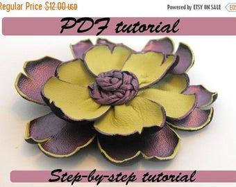 40% OFF SALE Leather flower tutorial. Fantasy flower PDF pattern