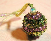 Five Beaded and Sequined Swarovski Ball Ornaments