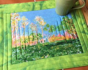 Monet - XL Mug Rug or Candle Mat  Over-sized Coaster / landscape / gift for her / quilted / park / painting / impressionist art / trees
