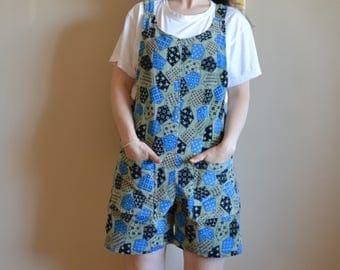 XL Patchwork Hobo Print Vintage Corduroy Fabric Shorteralls. OOAK Patterened Romper /Onesie.  Adjustable straps, side snaps.  Size 36