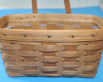 Vintage Signed and Dated Longaberger Hanging Basket, 1986