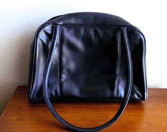 Black Leather Bowler Shoulder Bag by NATALIE