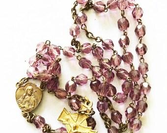 Vintage Purple Glass Rosary