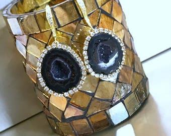 Black Tabasco Geode Earrings Gem Slice Diamond Look Bezel Black Geode Raw Mineral Jewelry Black Druzy Statement Earrings Gold Dangle - Alice