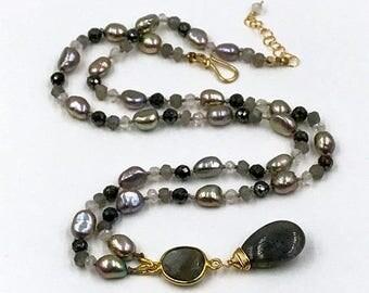 SUMMER SALE Labradorite Pendant Hand Knotted Silk Necklace Silver Pearl Black Spinel Mystic Quartz Labradorite Beach Boho Chic Necklace Beze