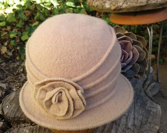 Gathered Wool Cloche with Rosette