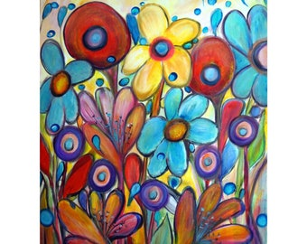 Flowers Large Painting Whimsical Gypsy RAINBOW Garden 40x30 Canvas Ready to Ship Art by Luiza Vizoli