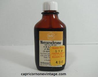 Vintage Mercurochrome Glass Bottle Nearly Full Vintage Medicine 1970s McKesson Mercurochrome Brown Glass Bottle Movie Prop Vintage Drugstore