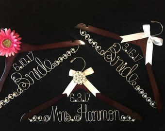 Bride hanger Personalized Wedding Dress accessory with floating date Wood and Wire Bridal Accent