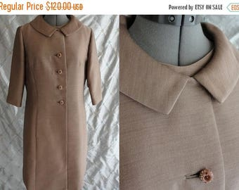 ON SALE 60s Dress & Coat Set//  Vintage 1960's Taupe Sleeveless Dress and Coat Set with rhinestone buttons Size M L