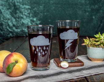 Stormy Weather Thunder and Lightening | Etched Pint Glasses Set of Two