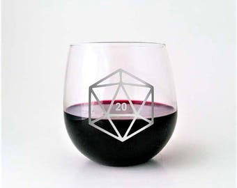 D20 Gamer Dice | Etched Stemless Wine Glass | DM Gift | Dungeon Master | Dungeons and Dragons