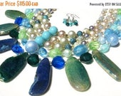 CLEARANCE Ocean Blue Green Vintage Bead and Agate Handmade Necklace