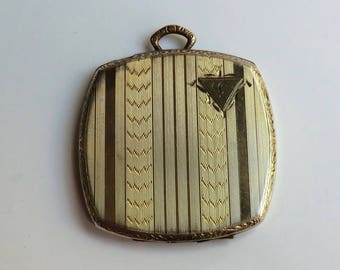 Art Deco GF Two Tone Locket Monogram L Vertical Designs Edwardian-Deco Era ca 1920