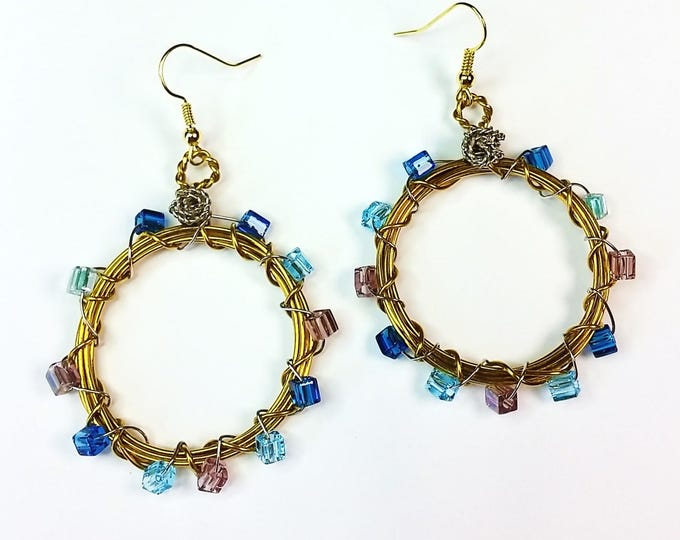 Happy Hoop Gold Wire Earrings With Caribbean Blues Beads