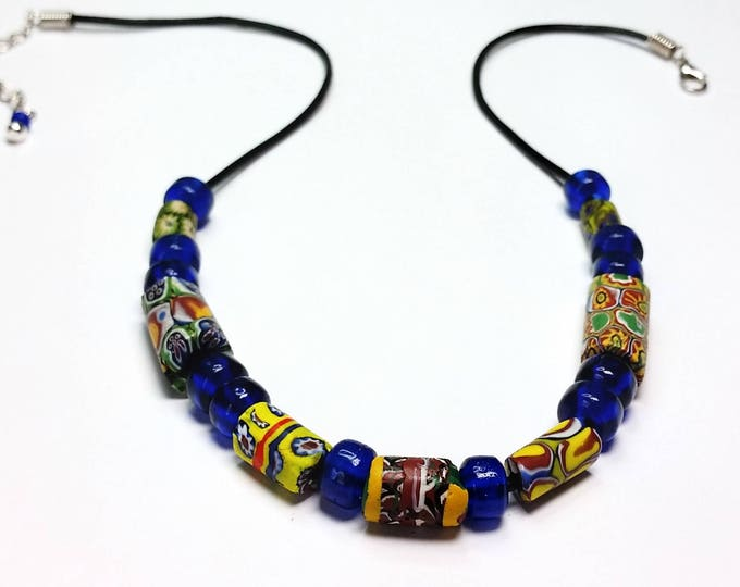 Colorful Trade Beads on Black Leather Cord with Extender Chain