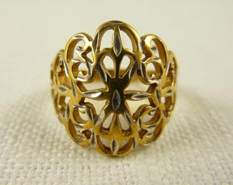 Vintage Size 6.75 Gold Plated Two Toned Sterling Ring