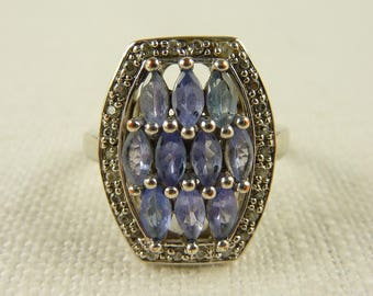 Size 7 Vintage Sterling Blue Iolite and Cubic Zirconia Ring
