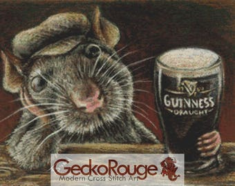 Modern Cross Stitch Kit, Tanya Bond,  'Paddy the rat drinking in a quiet pub', Counted Cross Stitch, Rat Cross Stitch, Cross Stitch