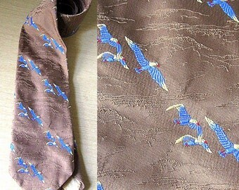 Vintage 70s Sears Men's Store Brown Necktie with Bald Eagles