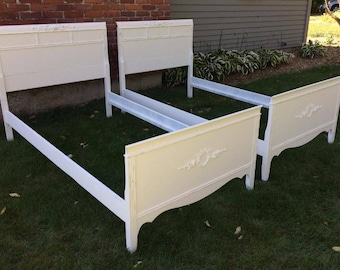 Twin Shabby Chic bed set, White Beds, Rose Appliques, Vintage, Painted Restored Lightly Distressed Furniture