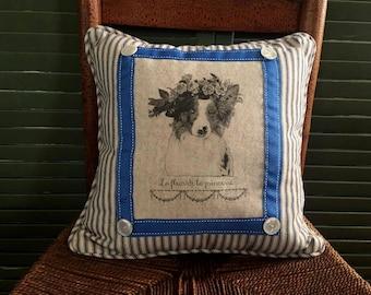 Australian Shepherd/Border Collie, Flower Crown| Pillow French Country Decor | Farmhouse Decor | Dog Print on Pillow |Whimsical dog pillow