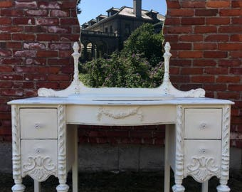 Painted Cottage Vanity, White Shabby Chic, Lightly Distressed, Floral Garland, Crystal Knobs