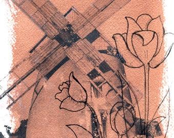 Windmill, 6x9 Mixed Media on Paper