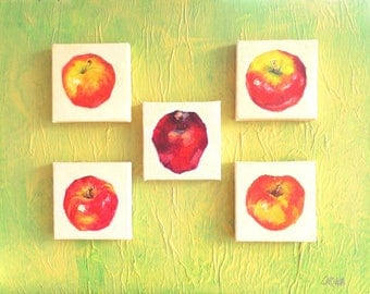 Oil paintings, Apple Collection, Small Paintings Mounted on 8x10 Panel