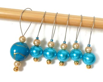 Knitting Stitch Markers Snag Free DIY Turquoise Gold Beaded Stitch Markers Gift for Knitter Craft Supplies Snagless