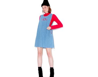 90s Denim Overall Dress w embroidered hearts / denim overalls jumper dress jean dress denim dress ripped jeans distressed jeans 90s clothing