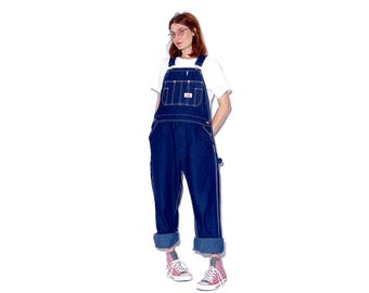 adorable vintage WORKWEAR OVERALLS / large oversized mens fit / coolest denim overalls coveralls jumpsuit hip hop onsie boyfriend jeans