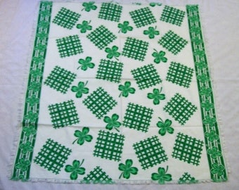 Vintage Tablecloth, st patrick's Day Tablecloth, Green Tablecloth, Card table tablecloth, Four leaf clovers