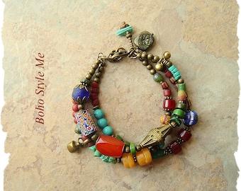 Boho Gypsy Bracelet, Bohemian Jewelry, Turquoise, Carnelian, Trade Beads, Multiple Strands, Boho Style Me, Kaye Kraus