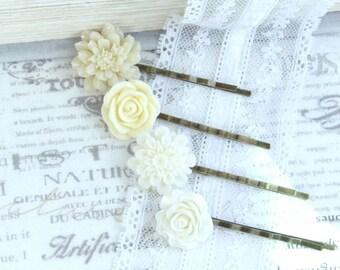 Cream Flower Hair Pins Hair Pin Set Cream Rose Hair Pins Wedding Bobby Pins Ivory Hair Pins
