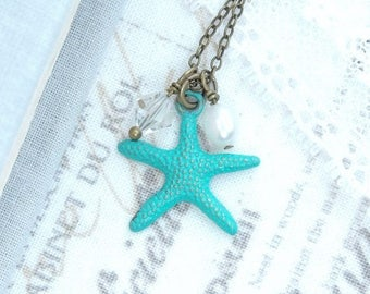 Turquoise Starfish Charm Necklace Beach Necklace Ocean Charm Necklace Beach Wedding Beach Gift