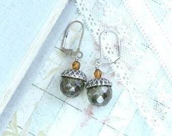 Acorn Earrings Autumn Jewelry Nature Earrings Acorn Jewelry Woodland Earrings Fall Jewelry Forest Earrings