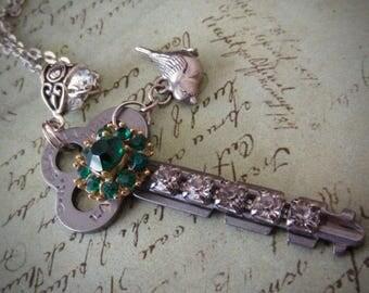Steampunk necklace  - Vintage Key - antique skeleton key - Emerald crystals -Repurposed Art