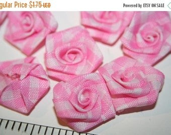 SUMMER CLEARANCE Handmade Craft Supplies - Pink Checker Rose Flowers - 12 pcs
