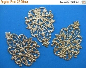 SUMMER CLEARANCE CLOSEOUT Sale - Raw Brass Antique Filigree Findings - 5 pcs