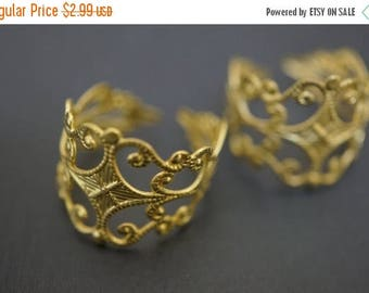 SUMMER SALE Plain and Simple Raw Brass Adjustable Filigree Ring Blanks 55mm - 8 pcs