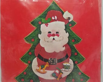 Christmas Needlecraft Kit Bucilla Kit 3399 Jeweled Panel Santa Tree 18 x 24 Made in USA  Santa Banner