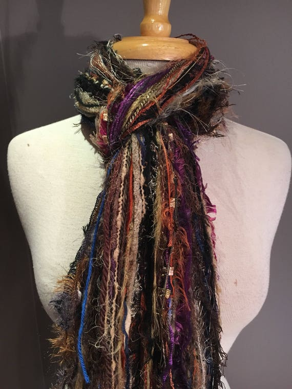 Autumn Fringie Scarf, Fall Harvest, Handmade Fringe Scarf in rich purples, rust black eggplant brown, bohemian, Halloween, fall scarf, fur