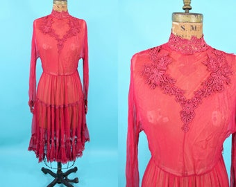 1920s sheer dress | AS IS red feminine long sleeve high collar dress | vintage 20s dress | W 24""