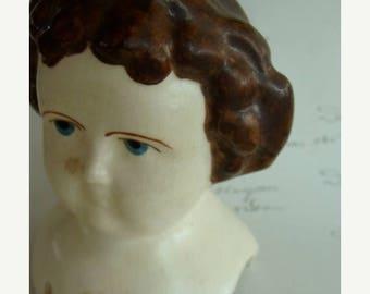 ONSALE Large Antique  Bisque Shoulder Doll Head/ Bust
