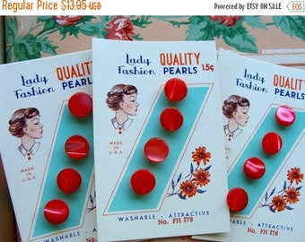 ONSALE 3 Antique Button card Lot Gorgeous Cherry Red Glass Pearl Sets on Original Cards with 15 cent price Mint Condition