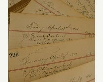 ONSALE Antique100YR Old Fancy Ledgers The Steady Hand of the Era