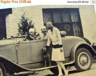 ONSALE Vintage Flappers Dog and Roadster Automobile Flash Card for your Journey Journal